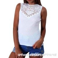 HANYI Women Fashion Lace T Shirt Sleeveless Patchwork Slim Blouse Casual Tops - B07DHLSKJ5