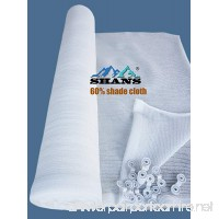 SHANS 60% UV Resistant Fabric Shade Cloth Pure White With Clips Free (60% 10ft x 10ft) - B06XX1NS6J