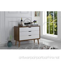 Mid-Century Modern Dresser Chest of Drawers  Entryway Chest with 3 Drawers (Brown/White) - B076P15X2W