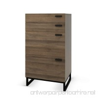 Storage Cabinet with 4 Drawers in Gray Oak Work for Home Office with Steel Legs - B076Q8Y4MZ