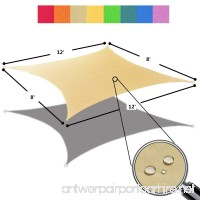 Alion Home 8' x 12' Waterproof Woven Sun Shade Sail in Vibrant Colors (8 ft x 12 ft Retangle) (Desert Sand) - B071727PHY