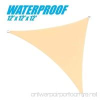 ColourTree 100% BLOCKAGE Waterproof 12' x 12' x 12' Sun Shade Sail Canopy Triangle Coffee - Commercial Standard Heavy Duty - 220 GSM - 4 Years Warranty (1  Beige) - B073DFLWPX