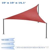 E&K Sunrise 10' x 10' x 14' Right Triangle Sun Shade Sail  Shade Fabric Cover Backyard Deck Sail Canopy UV Block - Rust Red - B0784QNQBG