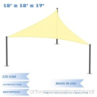 E&K Sunrise 12' x 12' x 17' Waterproof Sun Shade Sail -Canary Yellow Right triangle UV Block Durable Awning Perfect for Canopy Outdoor Garden Backyard-Customized Sizes Available - B077J8GSYN