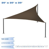 E&K Sunrise 20'x20'x20' Brown Equilateral Triangle Sun Shade Sail Outdoor Shade Cloth UV Block Fabric - B074Q4Y8RK