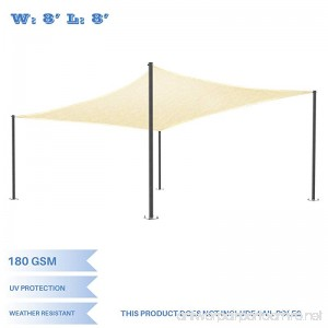 E&K Sunrise 8' x 8' Beige Sun Shade Sail Square Canopy - Permeable UV Block Fabric Durable Patio Outdoor Set of 1 - B076DKGNGT