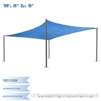 E&K Sunrise 8' x 8' Blue Sun Shade Sail Square Canopy - Permeable UV Block Fabric Durable Patio Outdoor Set of 1 - B076DGJ8JF