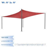 E&K Sunrise 8' x 8' Red Sun Shade Sail Square Canopy - Permeable UV Block Fabric Durable Patio Outdoor Set of 1 - B076DPN6LV