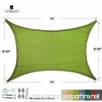 """LyShade 13' x 9'10"""" Rectangle Sun Shade Sail Canopy with Stainless Steel Hardware Kit (Lime Green) - UV Block for Patio and Outdoor - B01N9UK431"""