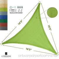 """LyShade 16'5"""" x 16'5"""" x 16'5"""" Triangle Sun Shade Sail Canopy with Stainless Steel Hardware Kit (Lime Green) - UV Block for Patio and Outdoor - B01MRKJEI2"""