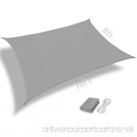 Pannow 8' x 10' Rectangle Sun Shade Sail UV Block Waterproof Sail Awning Canopy for Outdoor Patio Garden Gray - B07DB5MSQ9