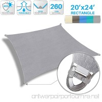 Patio Large Sun Shade Sail 20' x 24' Rectangle Heavy Duty Strengthen Durable Outdoor Canopy UV Block Fabric A-Ring Design Metal Spring Reinforcement 7 Year Warranty -Light Gray - B07B457YW2