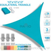 Patio Paradise 12' x 12' x 12' Turquoise Green Sun Shade Sail Equilateral Triangle Canopy - Permeable UV Block Fabric Durable Outdoor - Customized Available - B06XCQL27P