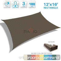 Patio Paradise 12' x 16' Brown Sun Shade Sail Rectangle Canopy - Permeable UV Block Fabric Durable Patio Outdoor - Customized Available - B01MZ79HVE