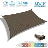 Patio Paradise 12' x 16' Brown Sun Shade Sail Rectangle Canopy - Permeable UV Block Fabric Durable Patio Outdoor - Customized Available - B01MZ79HVE