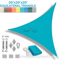 Patio Paradise 20' x 20' x 20' Sun Shade Sail with 8 inch Hardware Kit  Turquoise Green Equilateral Triangle Canopy Durable Shade Fabric Outdoor UV Shelter - 3 Year Warranty - Custom - B06XG26ZZ2