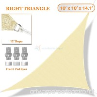 Sunshades Depot 10' x 10' x 14.1' Sun Shade Sail Right Triangle Permeable Canopy Tan Beige Custom Size Available Commercial Standard - B01KKHBXEO