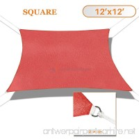 Sunshades Depot 12' x 12' Sun Shade Sail Square Permeable Canopy Rust Red Custom Size Available Commercial Standard - B01KW27OTA