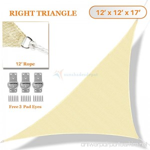 Sunshades Depot 12' x 12' x 17' Sun Shade Sail Right Triangle Permeable Canopy Tan Beige Custom Size Available Commercial Standard - B01LVW5T4B