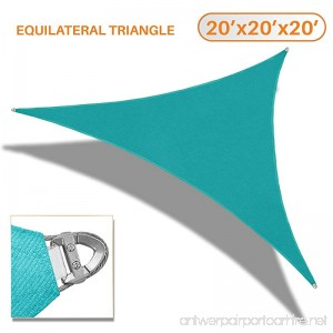 Sunshades Depot A Ring Design Steel Cable Wire Reinforcement 20' x 20' x 20' Equilateral Triangle Sun Shade Sails Turquoise Heavy Duty Permeable 260 GSM - B0741KPF5Q