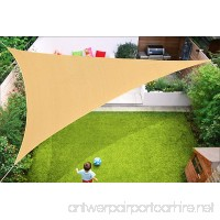 Triangle Sun Shade Sail Heavy Duty UV Block Canopy Shelter Perfect for Outdoor Patio Garden 16' x 16'x 16' Sand Color 5 Years Warranty - B07DW26KNW