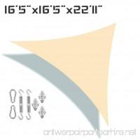 Unicool Deluxe Right Triangle 16'5 x 16'5 x 22'11 Sun Shade Sail UV Block Outdoor Patio Canopy Top Cover W/ Hardware Kit Beige/Cream - B0713NV4J1