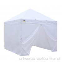 CROWN SHADES Patented 10ft x 10ft Instant Commercial Canopy with 4 Removable Zipper End Sidewalls and Plus Wheeled Storage Bag White - B07C7YKWSK