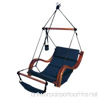 Deluxe Lounger Hammock Chair with Wooden Armrest - Navy Blue - B00CFT3IS0