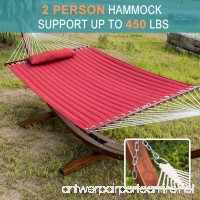 Lazy Daze Hammocks 55 Double Size Quilted Fabric Hammock with Hardwood Spreader Bar and Poly Head Pillow Stylish for Two Person Red - B01BD9L3JS