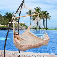 Lazy Daze Hammocks Hanging Caribbean Hammock Chair  Soft-Spun Cotton Rope  40 Inch Hardwood Spreader Bar Wide Seat  Max Weight 300 Pounds  Natural - B01BGQUFPG