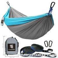 Longsea Double Camping Hammocks Garden Hammock Ultralight Portable Nylon Parachute Multifunctional Lightweight Hammocks with 2 x Adjustable Hanging Straps for Travel  Beach  Yard  Hiking - B07F71BC17