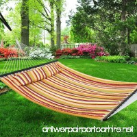 Nova Microdermabrasion Updated Quilted Fabric Hammock with Pillow Double Size Spreader Bar Heavy Duty Portable Outdoor Camping Hammock For Outdoor Patio Yard (480lbs Capacity) - B07DZZJT9J