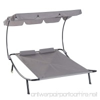 Outsunny Double Chaise Lounge Hammock Sunbed with Canopy and Stand - Light Grey - B07DPHCS9G