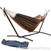 PG PRIME GARDEN 9' Double Hammock with Space Saving Steel Hammock Stand Elegant Rainbow Stripe - B00UWCUZ2E
