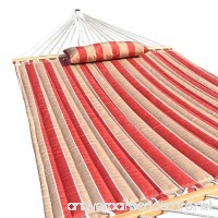 PG PRIME GARDEN Quilted Fabric Hammock with Pillow Hardwood Spreader Bars 2 People Cherry Stripe - B00Y81DBMG