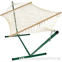 Sunnydaze Cotton Rope Double Hammock with Stand and Wood Spreader Bar  2 Person  350 lb Weight Capacity - B00K7IKJME