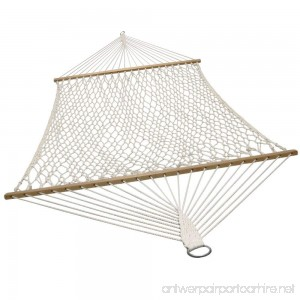 Sunnydaze Double Wide 2 Person Cotton Spreader Bar Rope Hammock 2 Person 450 Pound Capacity - B00LSZEYOE