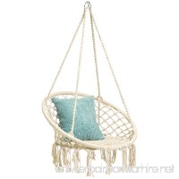 Best Choice Products Indoor/Outdoor Hanging Cotton Macrame Rope Hammock Lounge Swing Chair w/Fringe Tassels - Beige - B07BWWPN5X