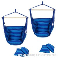 F2C Pack of 2 Cotton Hammock Chair Hanging Rope Chair Swing Chair Seat Porch Sky Swing Patio Chair (2PCS Blue) - B07F762228