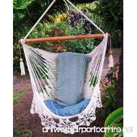 Hammock chair flower crochet handmade cotton beige/ Indoor outdoor chair hammock/ Hanging chair swing - B06X8YKVW1
