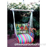 Hammock Swing Chair Multi Colored Stripe with Birdhouses Pillow - B07BTR2CV4