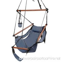 ROVSUN Hanging Hammock Air/Sky Chair Swing Rope Chair Porch Chair Hanging Seat Well-equipped High Strength Assembled with Pillow and Drink Holder for Yard Garden Patio Indoor Outdoor 250 lbs Blue - B07G2YJBQH