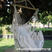 Smilingtree Cotton Rope Hammock Hanging Swing Chair Sky Canvas Solid wood Outdoor Porch - B01JVG5544