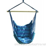 SueSport New Hanging Rope Chair - Swing Hanging Hammock Chair - Porch Swing Seat - With Two Cushions - Max.265 Lbs  Blue - B071GQFFK1