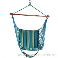 Sunnydaze Hanging Padded Soft Cushioned Hammock Chair with Footrest  26 Inch Wide Seat  Max Weight: 330 Pounds  Ocean Breeze - B01E9OQBUK