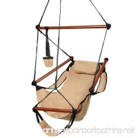 Z ZTDM Hammock Hanging Chair Air Deluxe Sky Swing Seat with Pillow and Drink Holder Solid Wood Indoor/Outdoor Garden Patio Yard 250lbs (Tan) - B07CGBVBFD