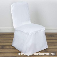 BalsaCircle 10 pcs White Polyester Square Top Banquet Chair Covers Slipcovers for Wedding Party Reception Decorations - B014EGFBNG