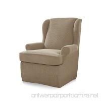 CHUN YI 2-Piece Stretch Jacquard Polyester Spandex Fabric Wing Chair Covers (Sand  Wing Chair) - B07CWL1CHW