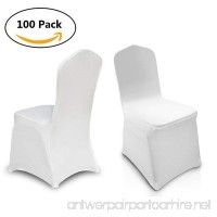 Creine Set of 100pcs Universal White Color Chair Covers  Stretchable Polyester Spandex Banquet Dining Chair Slipcover Decoration for Wedding Anniversary Party Home Use (US STOCK) - B07BMM15BG