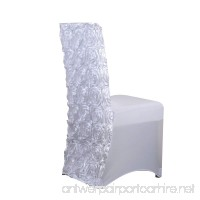 Fuzzy Fabric Rosette Spandex Chair Cover – White - B07DXBPS8T